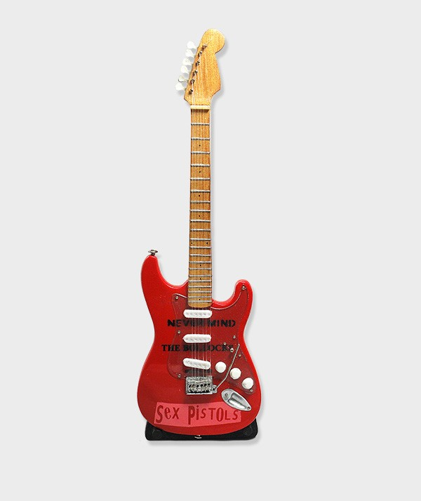 Guitare Miniature rouge Sex Pistols Never Mind The Bollocks 01