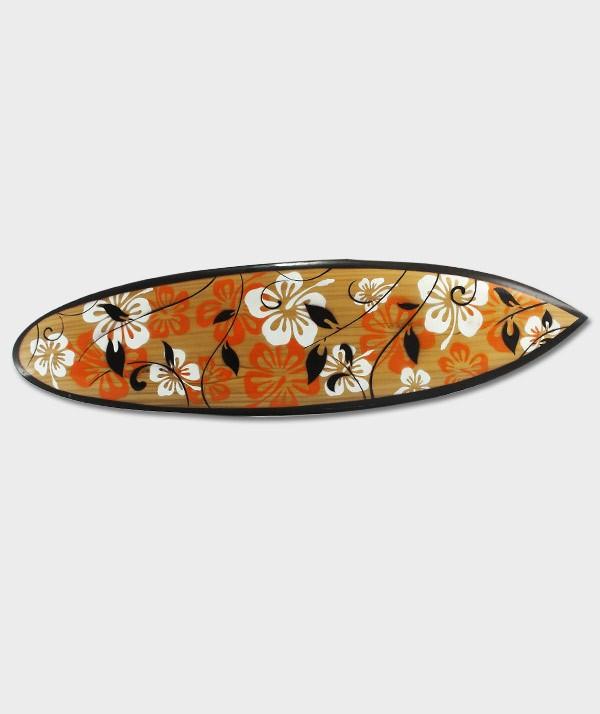 Planche de Surf déco au motif de fleur Hibiscus style Hawaï surf en bois 02