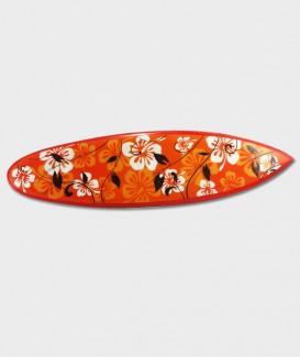 Planche de Surf hibiscus blanc fond orange
