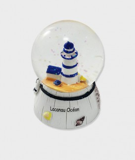 Boule de ou à neige décorative musical Lacanau océan style bord de mer