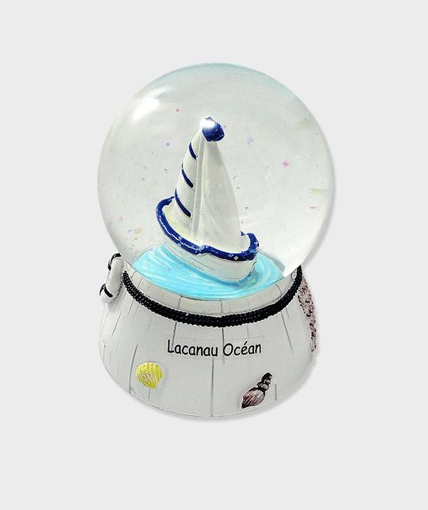 Boule de ou à neige décorative  bateau musical Lacanau océan style bord de mer