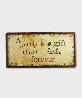 "Plaque d'immatriculation ""A family is a gift that lasts forever"""