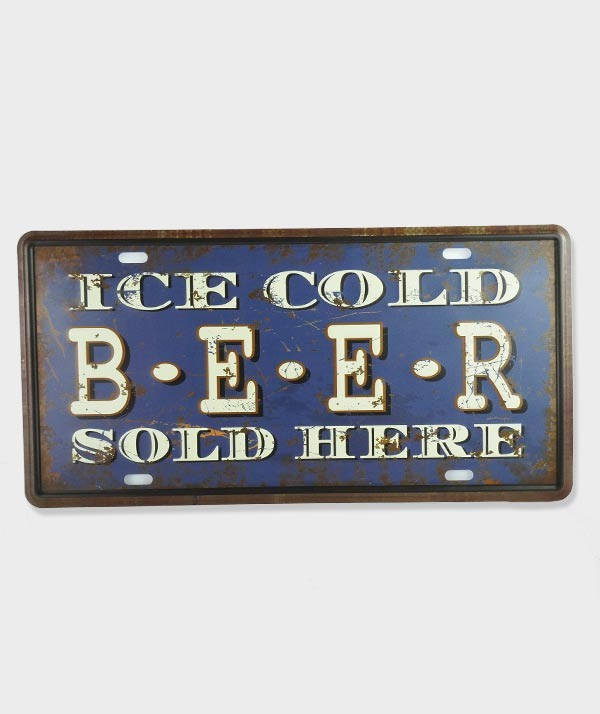 "Plaque d'immatriculation vintage métal usé US décor ""Ice Cold Beer Sold Here"""