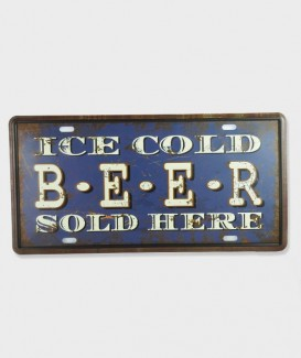 "Plaque d'immatriculation vintage métal usé US décor ""Ice Cold Beer Sold Here""2"