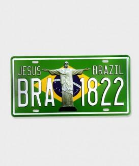 """Plaque d'immatriculation vintage métal usé US décor """"Jesus Brazil 1822"""""""