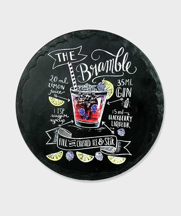 Dessous plat rond Recette du Bramble Cocktail
