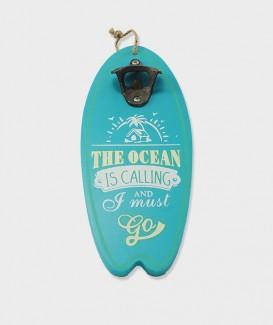 Ouvre bouteille mural humoristique en bois en forme planche de surf cyan