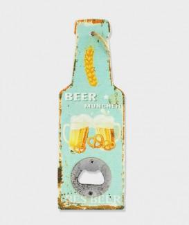 """Décapsuleur Mural en bois humoristique """"beer Munchen"""""""