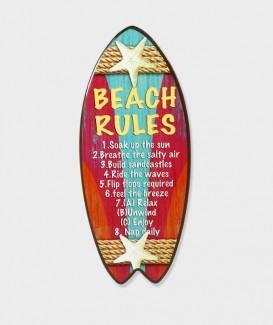 """Repose plat en Bois en Forme de Planche de SURF """"Beach Rules"""""""