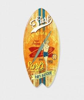 """Repose plat  en Bois en Forme de Planche de SURF """"Pays Basque"""""""