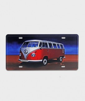 Plaque d'immatriculation US vw bus peace and love