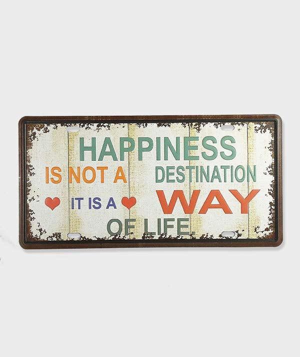 Plaque d'immatriculation Happiness décorative