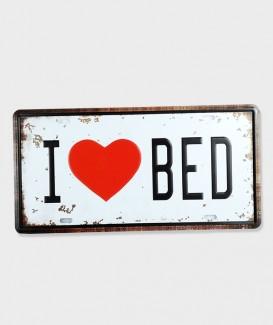 Plaque d'Immatriculation Vintage Métal  Love Bed