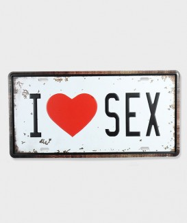 Plaque d'immatriculation  I Love sex
