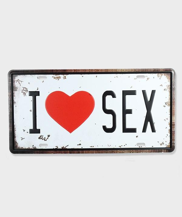 Plaque d'immatriculation  I Love sex