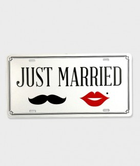 Plaque d'Immatriculation VintageJust Married 02