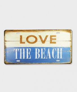 "Plaque d'Immatriculation Vintage Métal decorative""I Love beach 01"