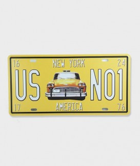 Plaque d'Immatriculation decorative Taxi New York Us NO1