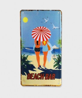 "Plaque Poster Mural Décorative Vintage en Métal  ""Beach bar"""