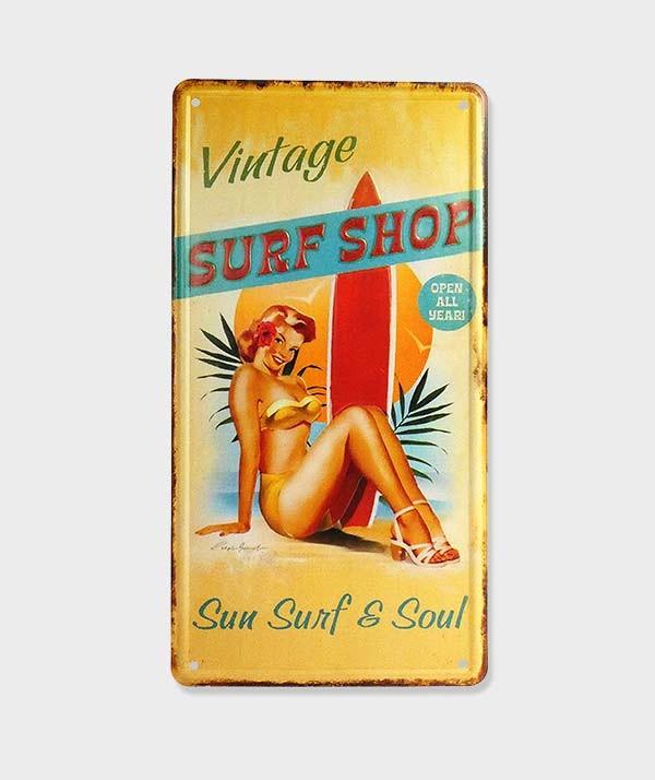"""Plaque Poster Mural Décorative Vintage en Métal  """"Pin Up Surf"""""""