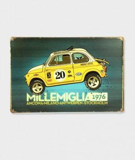 Plaque Métal Décorative Fiat 500 Sport 1976