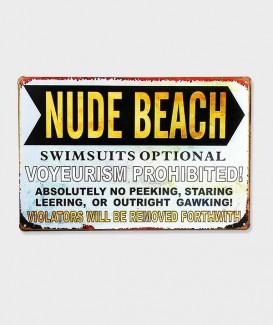 Plaque Métal Décorative Nude Beach