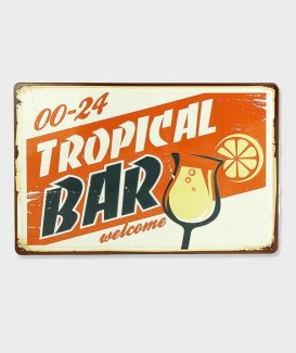 Plaque Metal vintage Welcome Tropical Bar