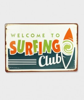 Plaque Metal vintage Welcome To Surfing Club