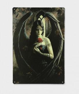 Plaque Metal vintage Ange Avec Rose, Anne Stokes