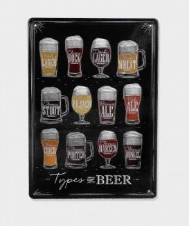 Plaque Metal vintage Types de bière