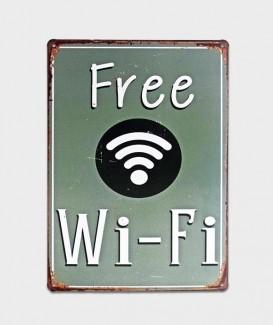plaque Free wi-fi sur fond marron tole deco affiche metal