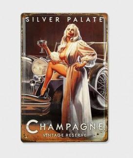 Plaque Métal Décorative Silver Palate Champagne