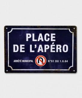 Plaque Métal Décorative vintage  Place de l'Apéro