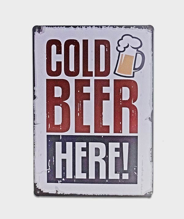plaque cold beer sur fond blanc tole deco affiche metal