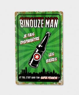 Plaque Métal Décorative vintage Binouze man