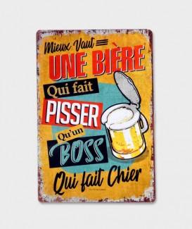 Plaque Métal Décorative vintage Mieux vaut une bière...