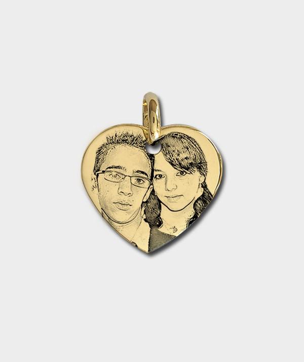 Gravure de photo ou de portrait sur Pendentif Coeur plaqué or m9