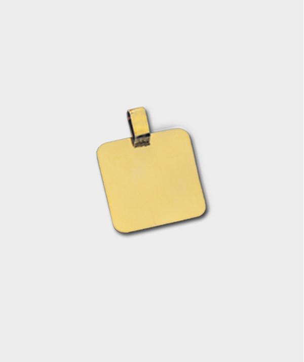 Gravure de Médailles Carré en Or 18 Carats à Graver de Vos Photos et Textes - Or 20 carats O 91
