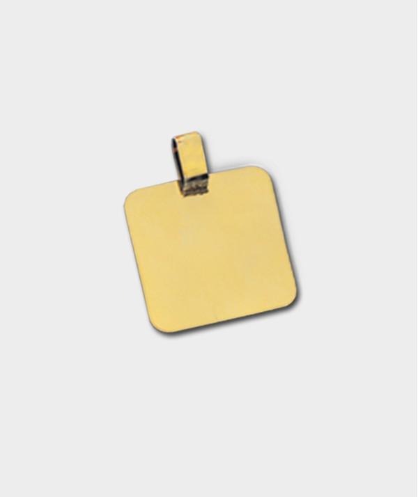 Gravure de Médailles Carré en Or 18 Carats à Graver de Vos Photos et Textes - Or 21 carats O 91