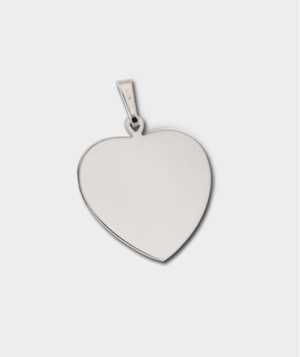 Gravure de Médailles coeur en Or Blanc 18 Carats à Graver de Vos Photos et Textes -  Or Blanc 18 carats OB 08