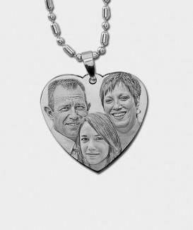 Pendentif coeur en Acier Chirurgical à Graver de Vos Photos et Textes MC 10