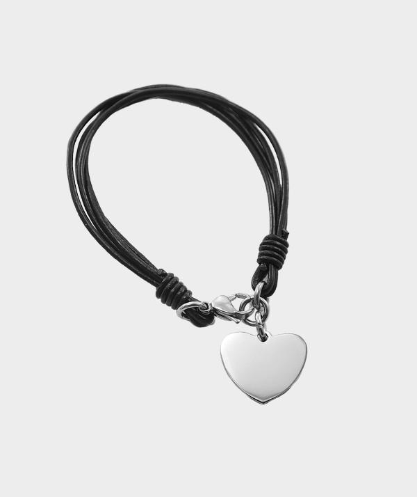 Bracelet Coeur en Acier Chirurgical à Graver de Vos Photos et Textes MC 31 brun