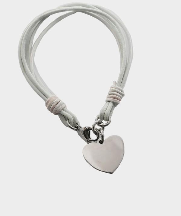 Bracelet Coeur en Acier Chirurgical à Graver de Vos Photos et Textes MC 31 blanc