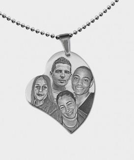 Pendentif coeur en Acier Chirurgical à Graver de Vos Photos et Textes MC 5