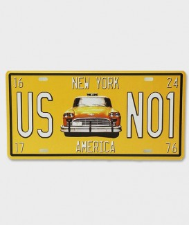 Plaque d'Immatriculation décorative Taxi Jaune New York US N01