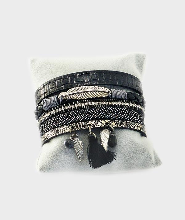 dernière mode nouveau design baskets pour pas cher Bracelet femme, manchette en cuir, noir et blanc deux ailes et une plume  argentées femme