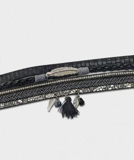 bracelet plume et aile noir argenté vue 2