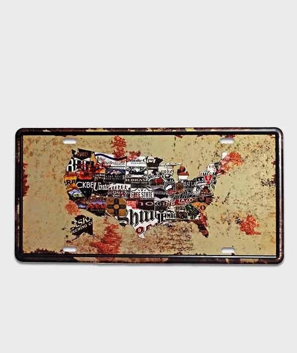 Plaque style d'immatriculation US ,décor carte des USA