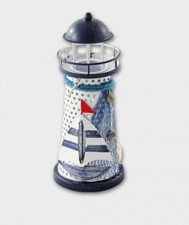 Phare porte bougie en métal  décoration filet et voilier marine souvenir