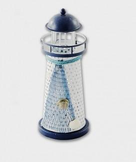 Phare bougeoir en métal  décoration filet et coquillage marine souvenir